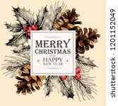 vector christmas card with... | Shutterstock .eps vector #1201152049