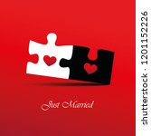 just married red inviting card... | Shutterstock .eps vector #1201152226