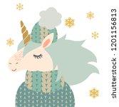 sweet little unicorn in winter...   Shutterstock .eps vector #1201156813