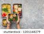 healthy lunch menu. woman... | Shutterstock . vector #1201168279