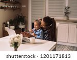 watching the cartoons together | Shutterstock . vector #1201171813