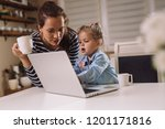 happy time at home | Shutterstock . vector #1201171816
