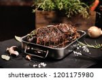 homemade roast with ham.... | Shutterstock . vector #1201175980