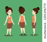 lady in different angles.... | Shutterstock .eps vector #1201196773