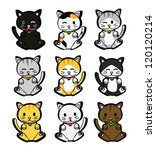 cute cartoon cats vector | Shutterstock .eps vector #120120214
