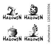 halloween set logo   vector... | Shutterstock .eps vector #1201205506