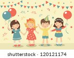 an illustration of kids party | Shutterstock .eps vector #120121174