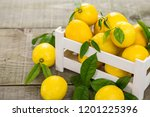 fresh lemons in the crate  | Shutterstock . vector #1201225396