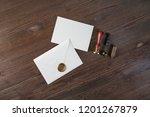 vintage envelope with wax seal  ... | Shutterstock . vector #1201267879