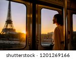 young woman enjoying view on... | Shutterstock . vector #1201269166