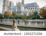 young woman tourist sitting... | Shutterstock . vector #1201271206