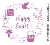 easter symbols. easter cake ... | Shutterstock .eps vector #1201282870