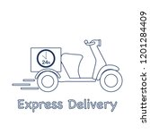 delivery motorbike. fast and... | Shutterstock .eps vector #1201284409