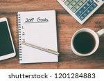 new year concept   2019 goals... | Shutterstock . vector #1201284883