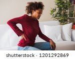 young black woman suffer back...   Shutterstock . vector #1201292869