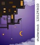 life on heavens  put the moon... | Shutterstock .eps vector #1201293610