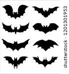 halloween icons set of bats in... | Shutterstock .eps vector #1201301953