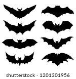 halloween icons set of bats in... | Shutterstock .eps vector #1201301956