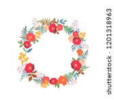wreath with flowers and leaves... | Shutterstock .eps vector #1201318963