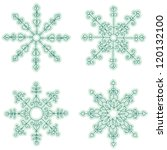 hand drawn snowflake set