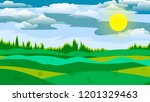 field in front of the forest   Shutterstock .eps vector #1201329463