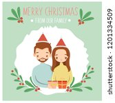 lovely couple and gift in...   Shutterstock .eps vector #1201334509