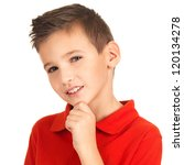 Face of adorable young smiling boy looking at camera isolated on white background - stock photo