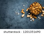 almond nuts in bowl. almonds | Shutterstock . vector #1201351690