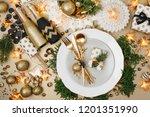 christmas table setting. gold... | Shutterstock . vector #1201351990