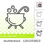 witch cauldron thin line icon.... | Shutterstock .eps vector #1201353823