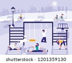 people in park with playground... | Shutterstock .eps vector #1201359130