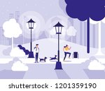 couple in park with lamps...   Shutterstock .eps vector #1201359190