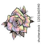 rose rainbow tattoo | Shutterstock .eps vector #1201360540