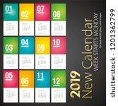 2019 new desk calendar monthly... | Shutterstock .eps vector #1201362799