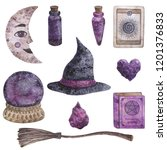 helluin set. witch  witchcraft  ... | Shutterstock . vector #1201376833