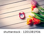 beautiful bouquet of tulips and ... | Shutterstock . vector #1201381936