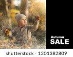 autumn sale. little cheerful...   Shutterstock . vector #1201382809
