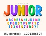 trendy 3d comical font design ... | Shutterstock .eps vector #1201386529