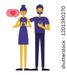 young couple using smartphone...   Shutterstock .eps vector #1201390270