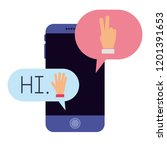 smartphone with speech bubbles... | Shutterstock .eps vector #1201391653