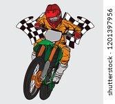 supermoto racing design logo ... | Shutterstock .eps vector #1201397956