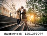 young japanese couple dating... | Shutterstock . vector #1201399099