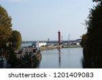 seaport from far away. | Shutterstock . vector #1201409083
