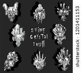 print with crystal skulls. | Shutterstock . vector #1201411153