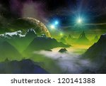 alien planet  computer artwork | Shutterstock . vector #120141388