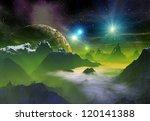 alien planet  computer artwork   Shutterstock . vector #120141388