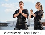 young handsome man and a... | Shutterstock . vector #1201415446