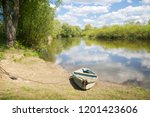 boat on the river bank in summer | Shutterstock . vector #1201423606
