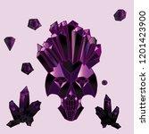 print with shine crystal skull. | Shutterstock . vector #1201423900