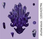 print with shine crystal skull. | Shutterstock . vector #1201425796